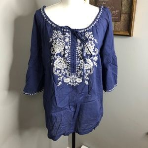 Tommy Bahama Bright Blue Off the Shoulder Top
